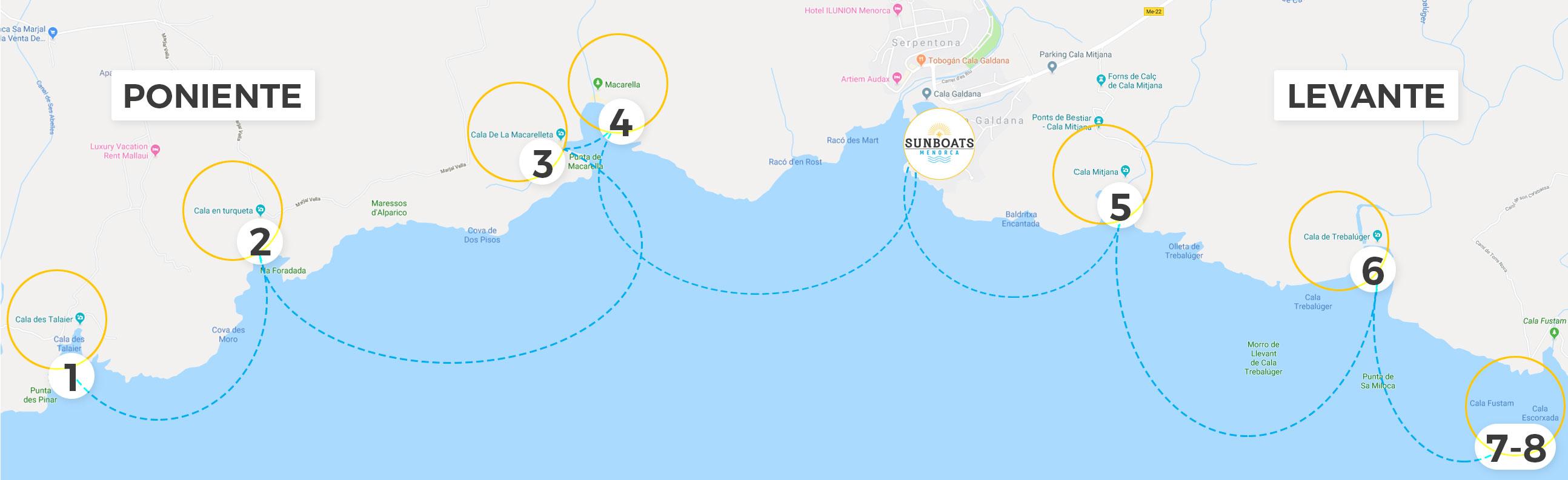 Mapa De Menorca Calas.Descubre Las Calas De Menorca Sunboats Menorca